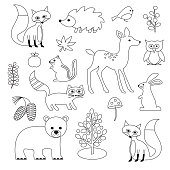 woodland animal digital stamps
