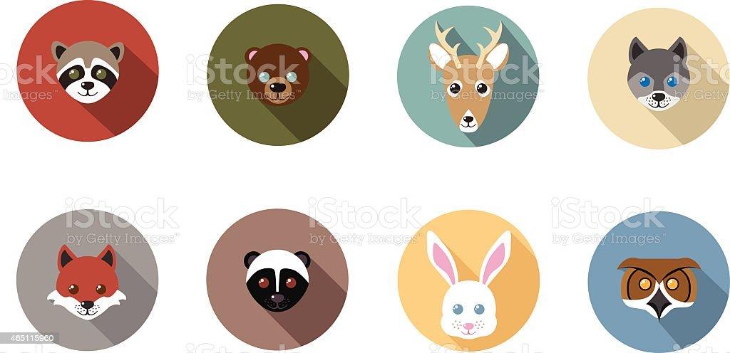 Woodland Animal Flat Long Shadow Icons vector art illustration
