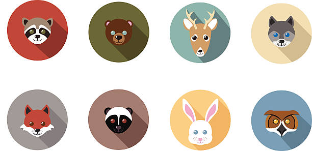 Woodland Animal Flat Long Shadow Icons vector art illustration