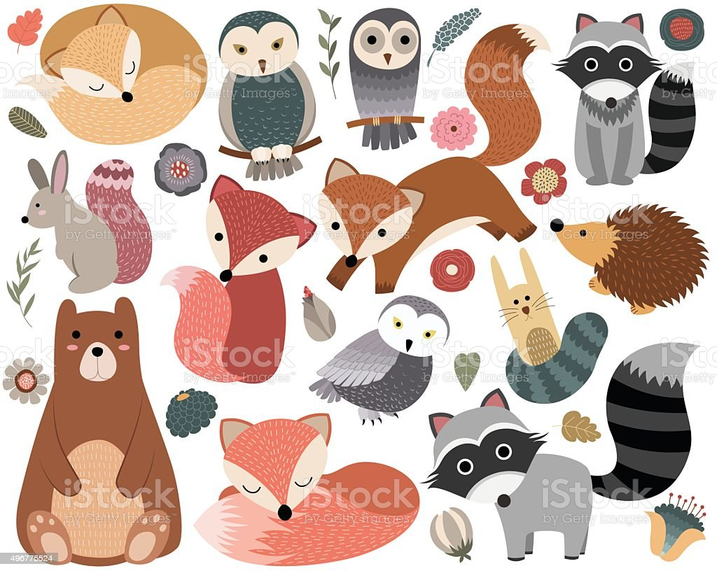 Woodland Animals and Forest Design Elements vector art illustration