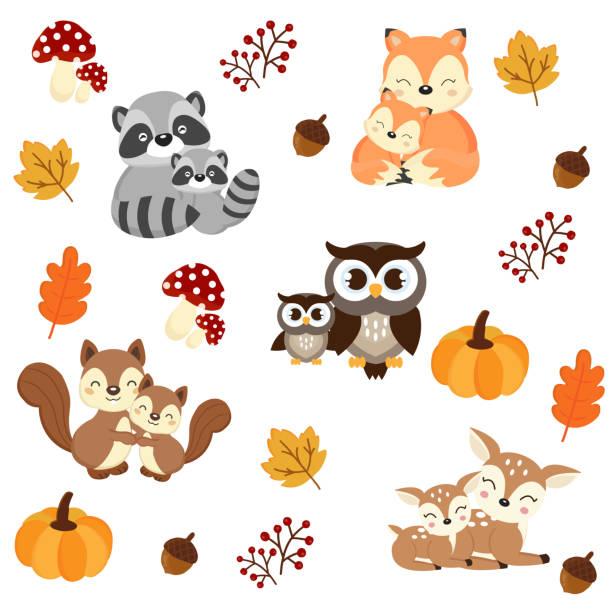 Woodland Animals background. Raccoon, fox, squirrel, owl and deer cartoon. Woodland Animals background. Raccoon, fox, squirrel, owl and deer cartoon. baby animals stock illustrations