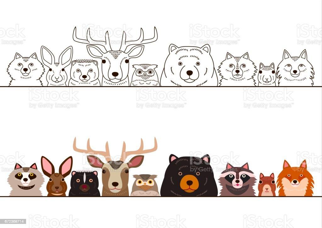 woodland animals border set royalty-free woodland animals border set stock illustration - download image now