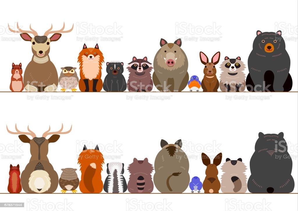 woodland animals border set vector art illustration