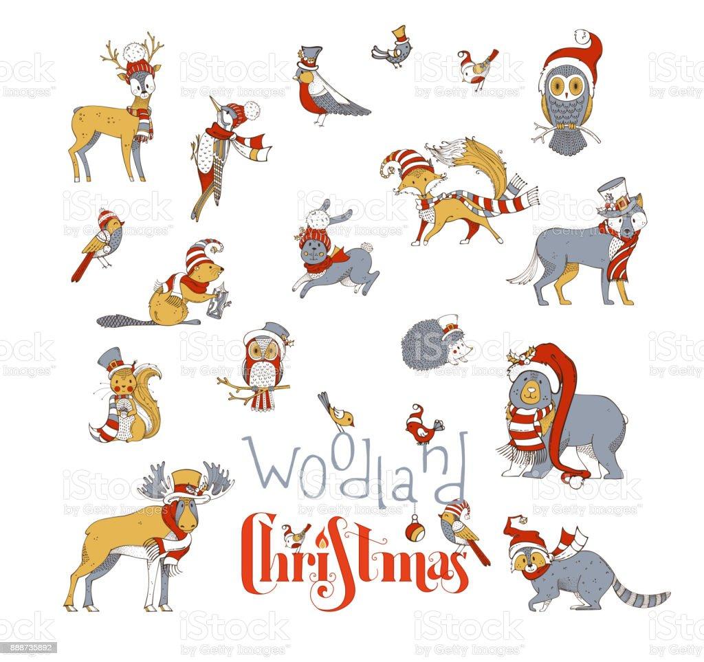Woodland animals Christmas set. vector art illustration