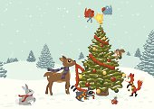 A vector illustration of various woodland creatures working together to decorate a Christmas holiday tree. All objects are grouped and layered for easy editing. Gradients and global colors used. Files included: AICS5, EPS8 and Large High Res JPG.