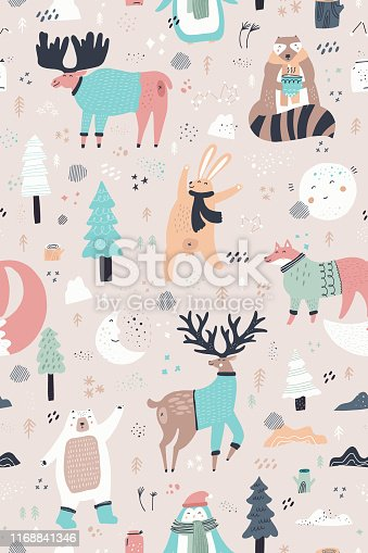 Woodland animals hand drawn color seamless pattern. Cute deer, bear, raccoon, fox in sweaters, scarves cartoon winter characters. Christmas sketch drawing. Wrapping paper, textile, background fill