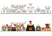 various woodland animals in party fashion border set.