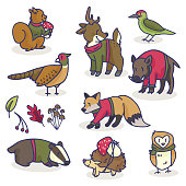 Woodland animals in sweaters cartoon vector illustration motif set.
