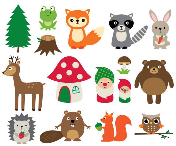 wald tiere, isolierte vektor-set - gartendekorationen stock-grafiken, -clipart, -cartoons und -symbole
