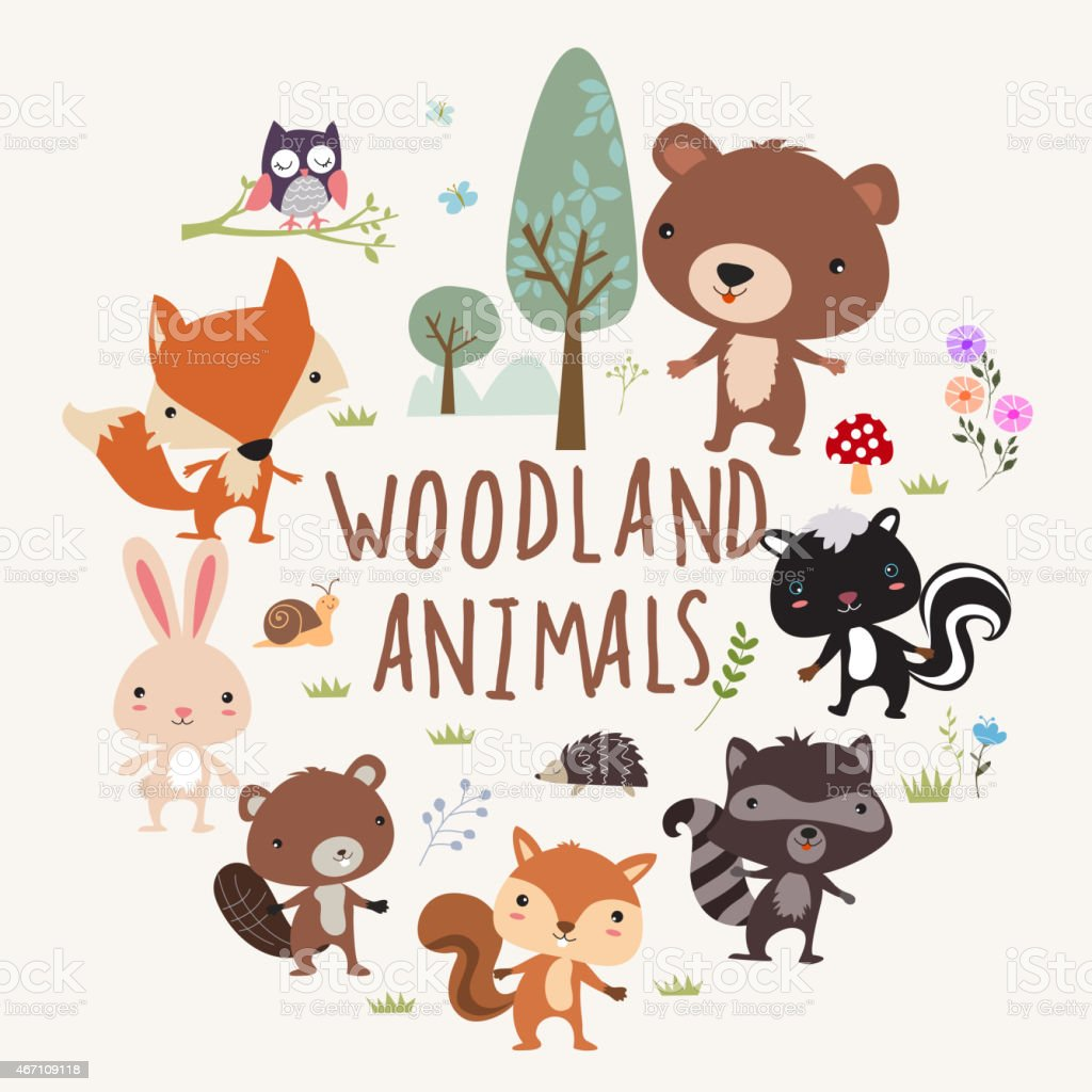 Woodland Animals vector art illustration