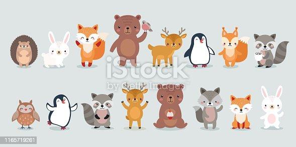 Woodland Boho characters -  bear, fox, raccoon, hedgehog, penguin, deer, rabbit, owl and squirrel. Cute forest animals. Vector illustration.