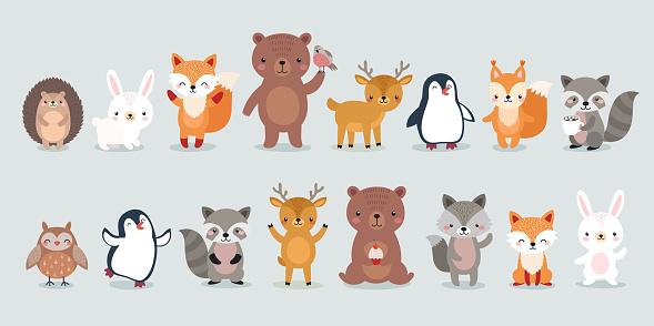 Woodland Boho characters -  bear, fox, raccoon, hedgehog, penguin, deer, rabbit, owl and squirrel.