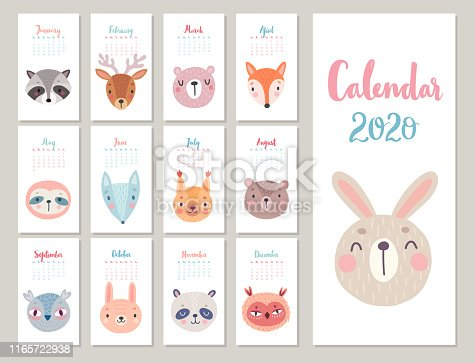 Woodland characters -  bear, fox, raccoon, sloth, panda, deer, rabbit, owl and squirrel. Cute forest animals. Vector illustration.