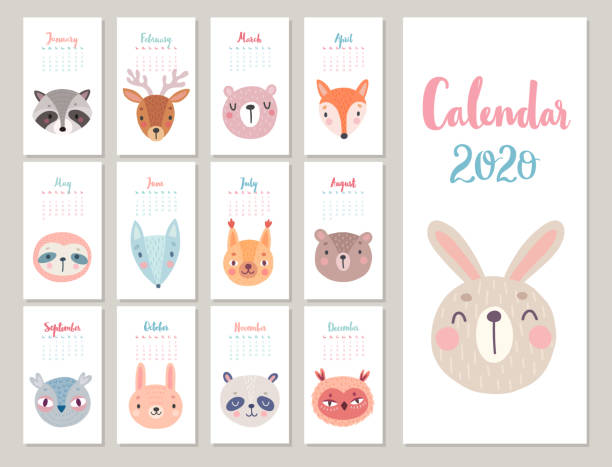 woodland characters -  bear, fox, raccoon, sloth, panda, deer, rabbit, owl and squirrel. cute forest animals. - animals calendar stock illustrations