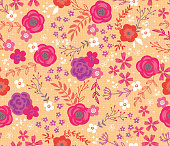 Woodland Cottage Floral Seamless Vector Pattern