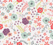 Woodland Cottage Floral Vector Pattern