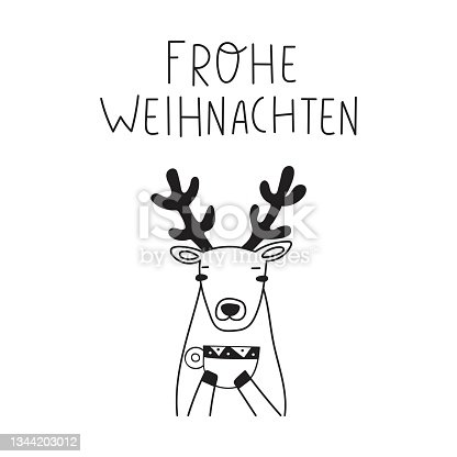 istock Woodland deer with cup of coffee and phrase - Frohe Weihnachten it's Merry Christmas on German. 1344203012