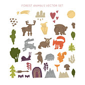 Woodland Forest Animals Vector Set