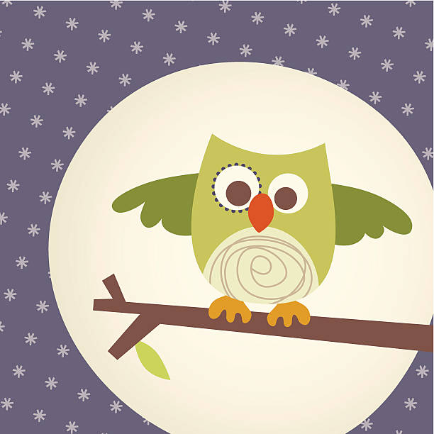 Woodland - Owl on branch in front of the moon vector art illustration