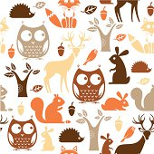 A woodland theme repeat pattern. See below for an icon set of this file.