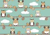 Woodland Retro Owls Pattern