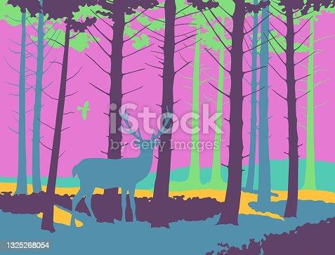 Woodland Scene with Deer