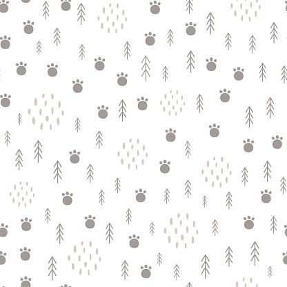 Woodland seamless pattern Scandinavian animal paw, forest tree. Light baby surface Kids wildlife background