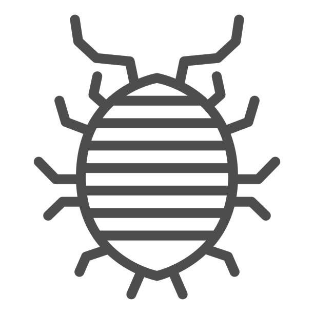 Woodlouse line icon, bugs concept, Roll up bug sign on white background, Sowbug icon in outline style for mobile concept and web design. Vector graphics. Woodlouse line icon, bugs concept, Roll up bug sign on white background, Sowbug icon in outline style for mobile concept and web design. Vector graphics arthropod stock illustrations