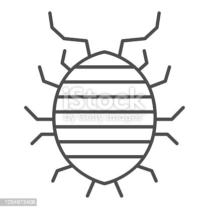 Woodlouse thin line icon, bugs concept, Roll up bug sign on white background, Sowbug icon in outline style for mobile concept and web design. Vector graphics