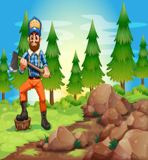 illustrations, cliparts, dessins animés et icônes de woodman tenant un axe à proximité de la région de rocheuses - man axe wood