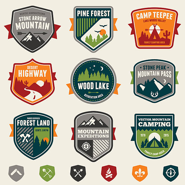 woods badges and icons - wildlife travel stock illustrations, clip art, cartoons, & icons
