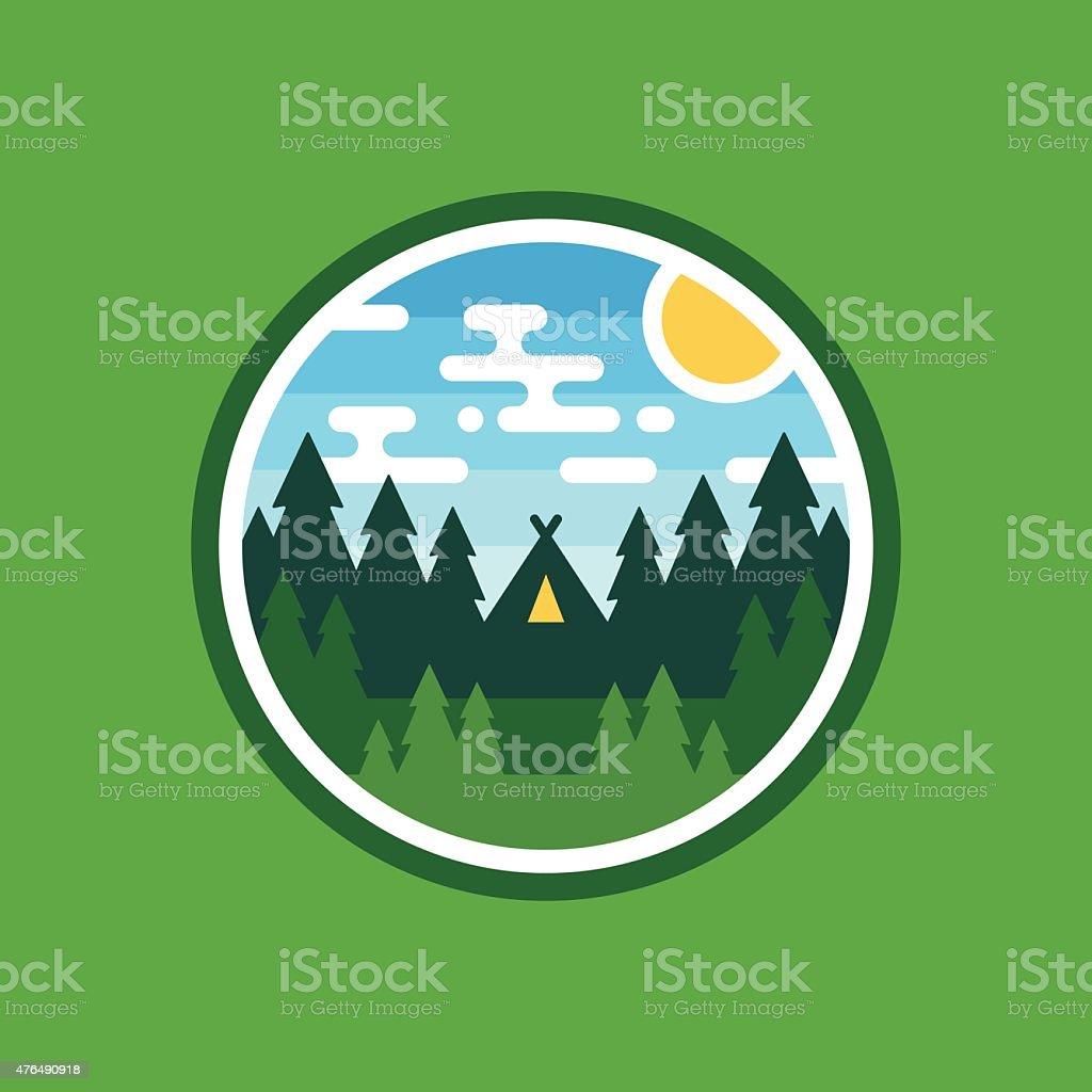Woods camping badge vector art illustration