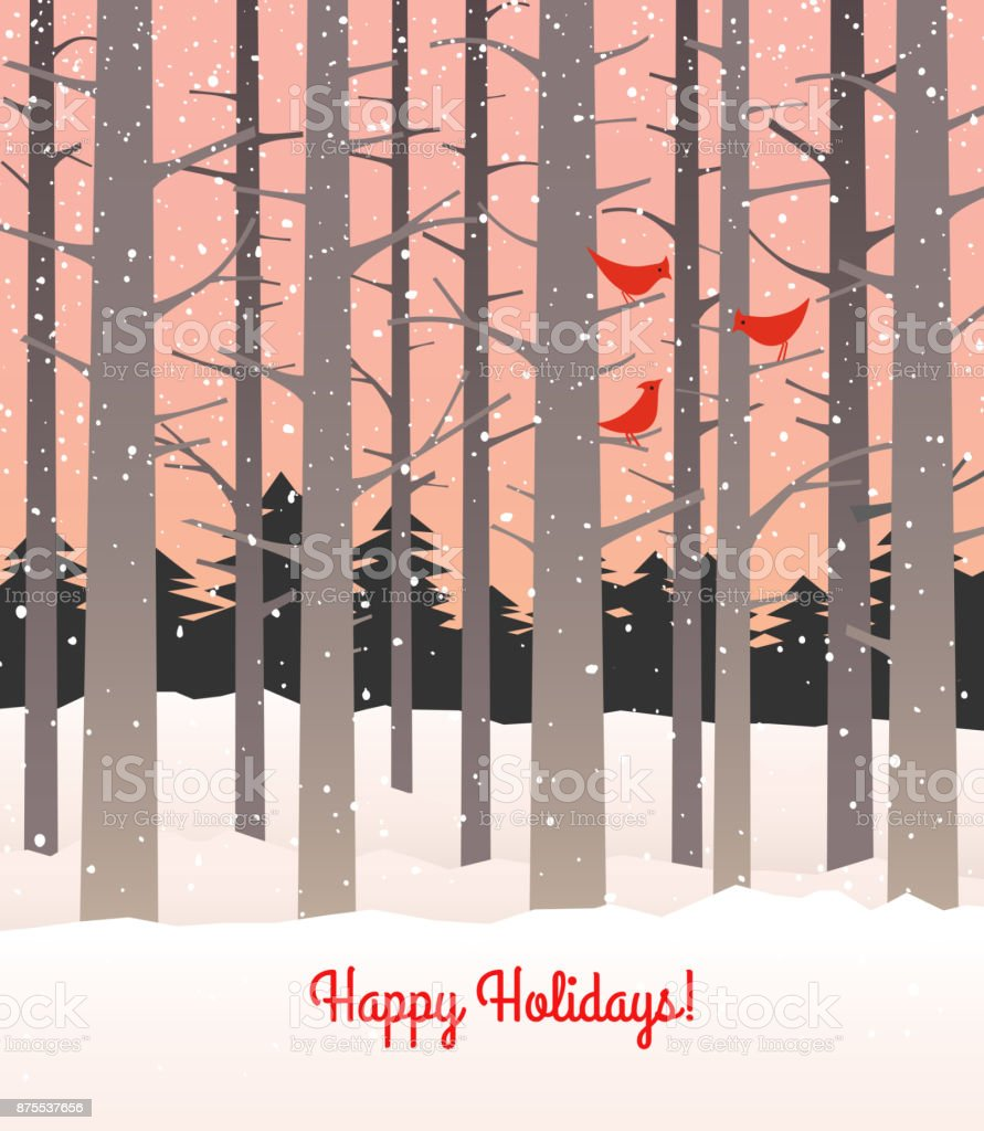 Woods in winter with falling snow and cardinals. Tall bare trees on pink background. - illustrazione arte vettoriale