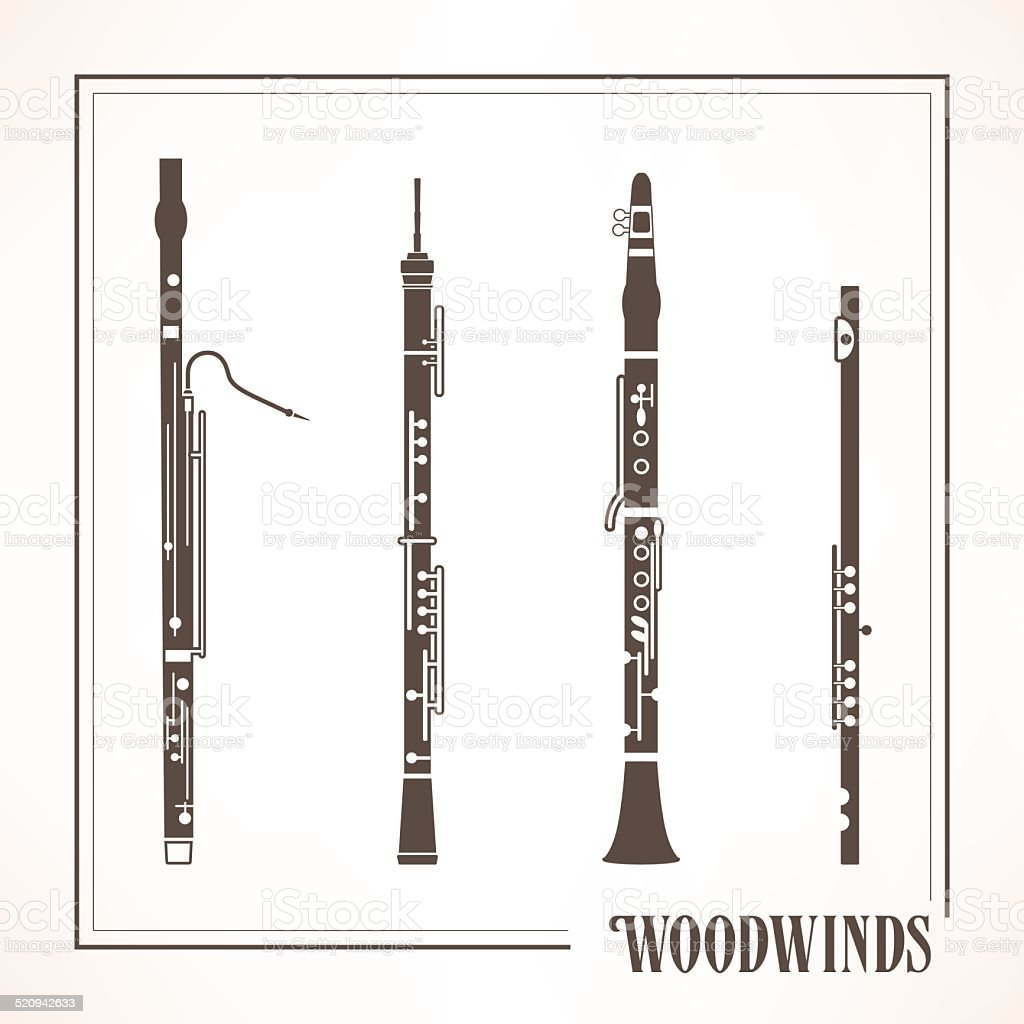 Woodwinds vector art illustration