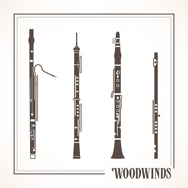 woodwinds - klarnet stock illustrations