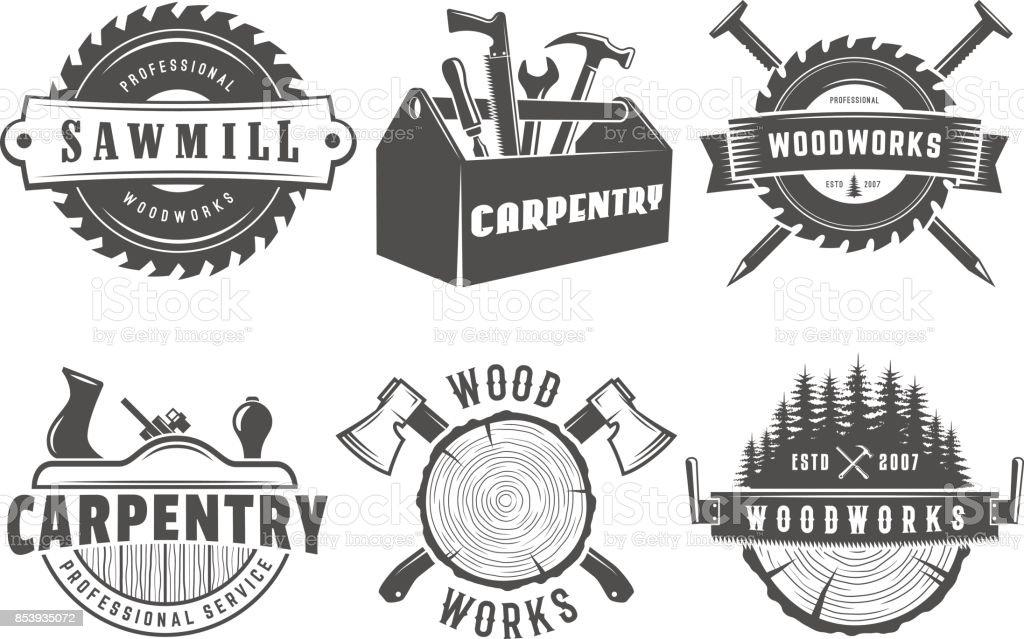 Insignias de madera y carpintería - ilustración de arte vectorial