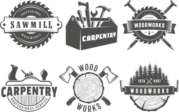 Woodwork and carpentry logos Woodwork logos. Vector badges for carpentry, sawmill, lumberjack service or woodwork shop. Set of vintage labels with hand tools carpenter stock illustrations