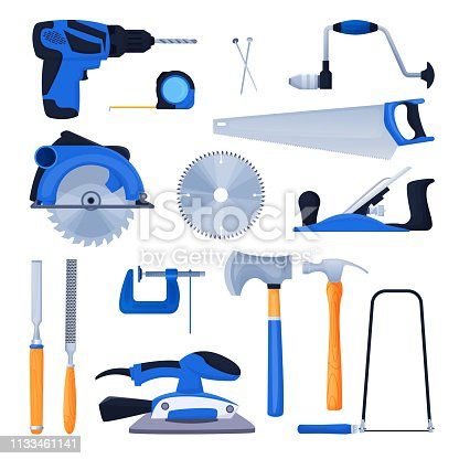 Woodwork and carpentry tools set. Carpenter workshop craft equipment, vector cartoon illustration. Wood material and furniture industry design elements.
