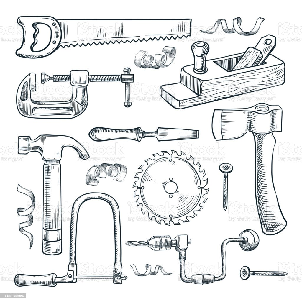 Woodwork And Carpentry Tools Set Vector Sketch Illustration