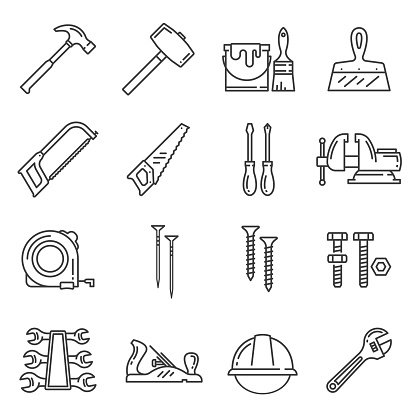 Woodwork, carpentry tools vector icons