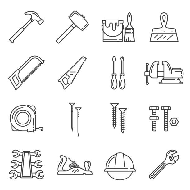 stockillustraties, clipart, cartoons en iconen met houtbewerking, timmerwerk tools vector icons - saw