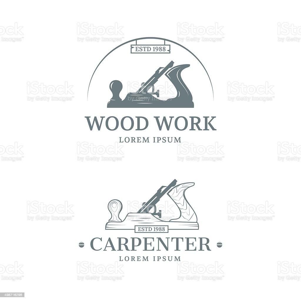 Carpintería diseño de etiqueta - ilustración de arte vectorial