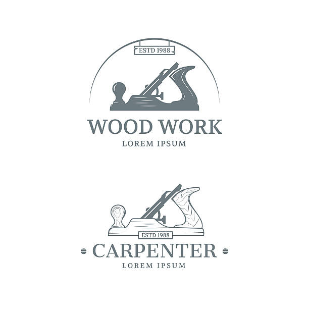 woodwork label design - carpenter stock illustrations, clip art, cartoons, & icons