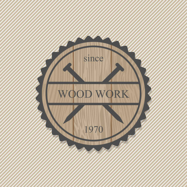 Woodworking badges logos and labels. Interesting design template for your company logo Woodworking badges logos and labels. Interesting design template for your company logo carpenter stock illustrations