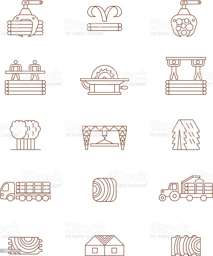 Woodworking business line icons vector art illustration