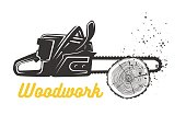 Woodworking. Chainsaw icon template.