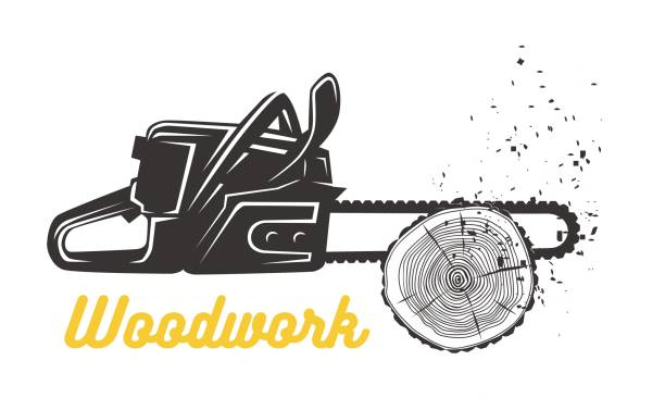 woodworking. chainsaw icon template. - wood texture stock illustrations