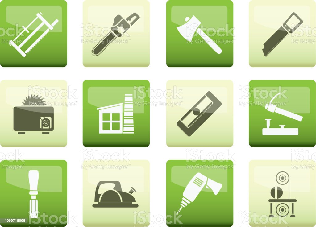 Woodworking Industry And Woodworking Tools Icons Over Color