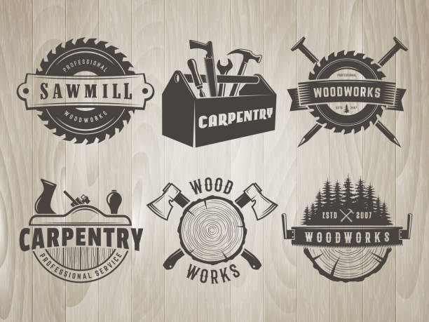 Woodworks and carpentry symbols. Woodworks symbols. Vector badges for carpentry, sawmill, lumberjack service or woodwork shop. Set of hand tools labels on vintage wooden background. carpenter stock illustrations