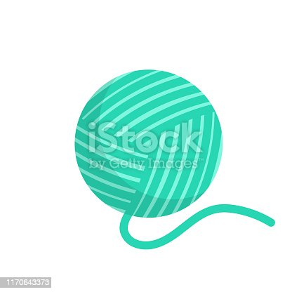 Green Wool ball isolated on white background. Color clew for knitting vector illustration